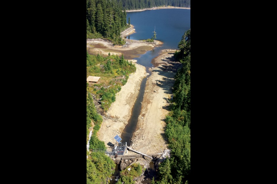The Chapman Lake outlet on Aug. 12. Recent rainfall was not sufficient to increase lake levels, and forecasts call for hot, dry weather to continue into fall.