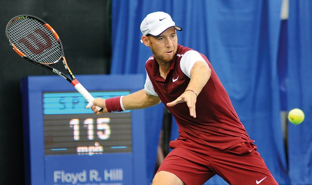 Dudi Sela loads up a forehand during the Odlum Brown VanOpen men's singles final held Sunday at Hollyburn Country Club. The Israeli beat Australia's John-Patrick Smith 6-4, 7-5 to win his fourth VanOpen title. Sela's first win came way back in 2005.
