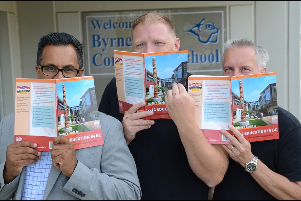 From left, Surrey principal Faizel Rawji, Byrne Creek principal David Starr and Cariboo Hill vice-principal David Mushens are giving parents the inside scoop on B.C. schools in a new book.