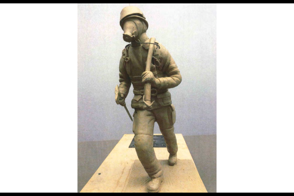 This $111,000 bronze sculpture (pictured is a clay model) designed by Victoria artist Nathan Scott was unanimously approved by Richmond city council on Monday.