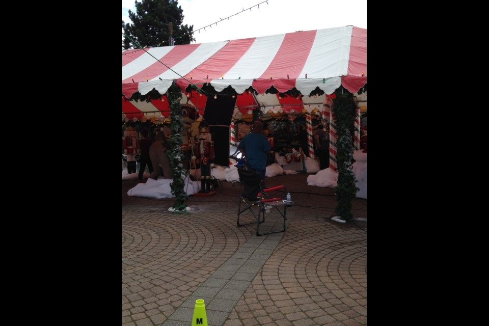 Christmas already? Well, not really. Film crews decorated Hyack Square in a holiday theme as part of the filming of Runaway Princess.