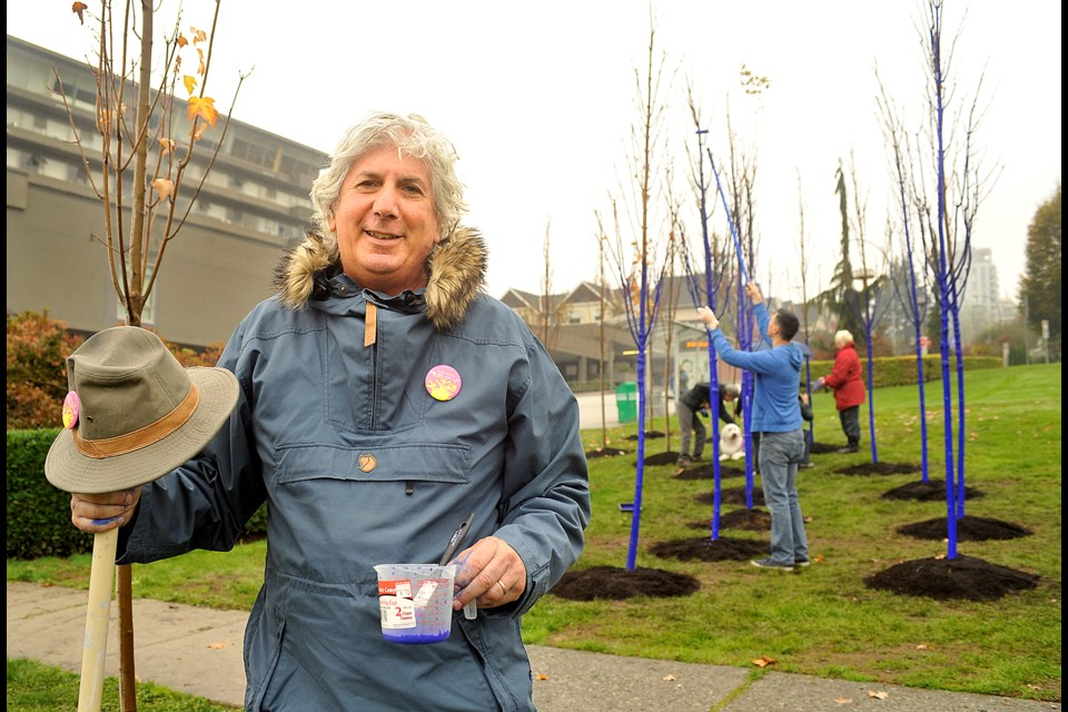 Konstantin Dimopoulos visited New Westminster last week to help set up the new Blue Trees installation that's part of the Vancouver Biennale.