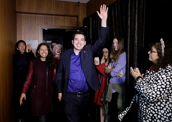 Liberal Terry Beech shortly before his victory speech at Joey's in Burnaby on Monday night, as he took the riding of Burnaby North-Seymour.