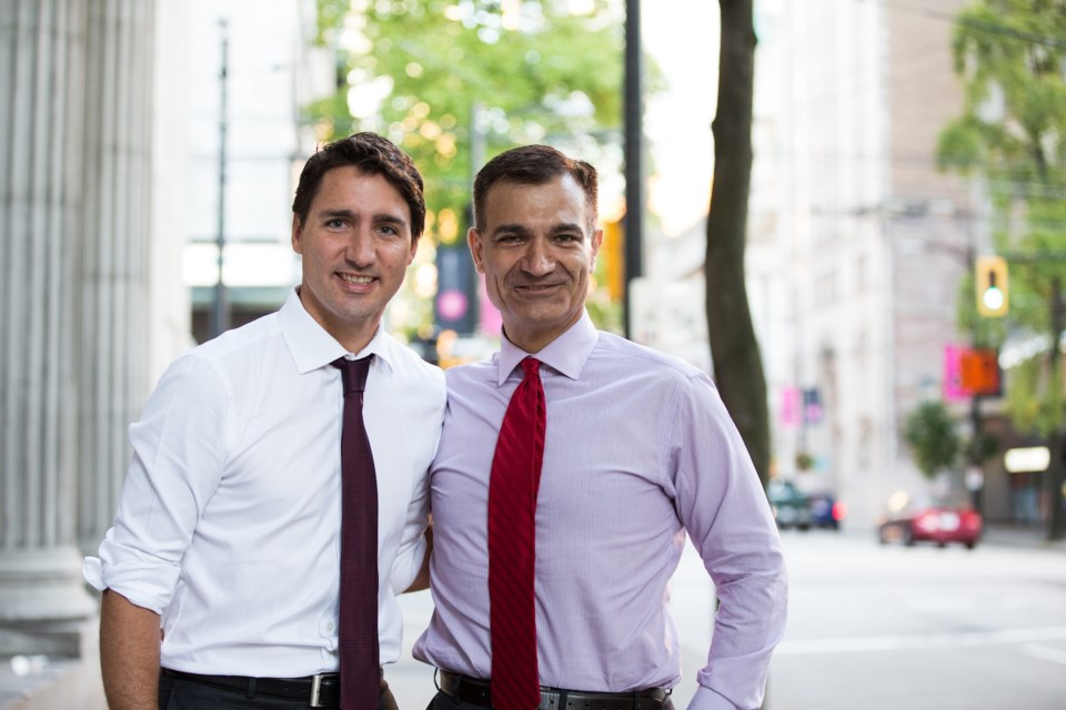 Liberal leader Justin Trudeau and Richmond lawyer Joe Peschisolido during the 2015 federal election campaign. Summer 2015.