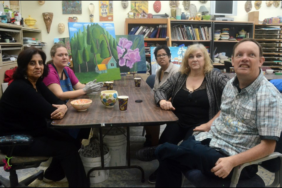 From left, Jasmin Punjani, Sherilyn Seitz, Shanyce Point, teacher and founder Deidre Blackmore and Dan Tell are some of the faces behind PotteryWorks Studio in Burnaby