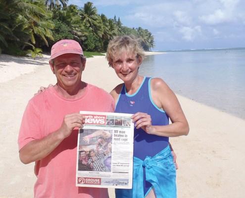 David and Lynne Rose on Rarotonga Beach in Titikaveka, Cook Islands.