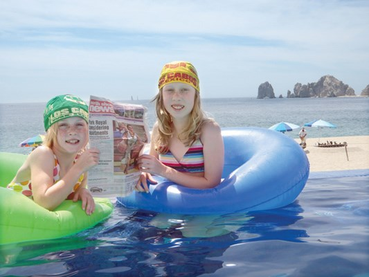 Kayla and Savannah Munro enjoy hanging out in their pool tubes in Cabo San Lucas, Mexico.