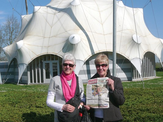Marilyn Bullock and Fran Hodgkins stop at the National Liberation Museum 1944-1945 during a recent trip to the Netherlands, which included a Rhine River cruise.