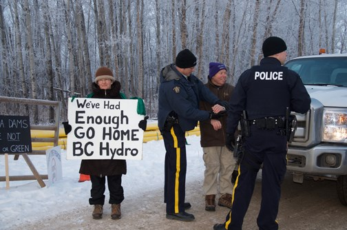 Former Peace River Regional District director and vocal Site C dam opponent Arthur Hadland was arrested during a protest against the $8.8-billion project Wednesday morning.