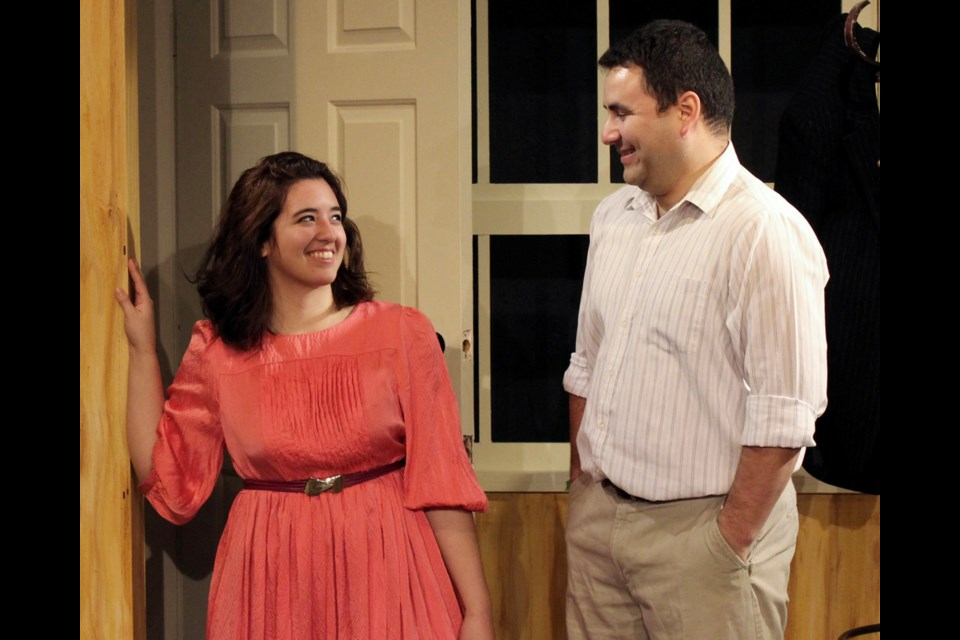 Kimmie Kidd is Caitlin and William Valenzuela is Nick in the Vagabond Players' Over the River and Through the Woods.