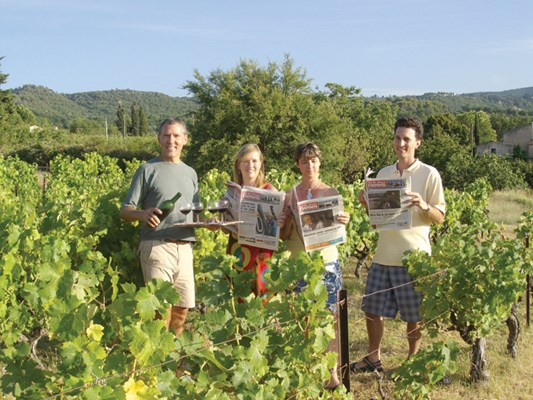 Alastair Moore, Dominica Babicki, Nora Gambioli and Franz Lefort visit a vineyard near Bonnieux, France.