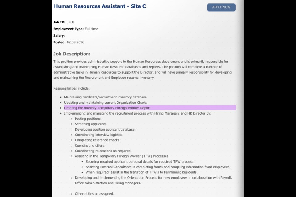 A screenshot of a job posting for a human resources assistant on the Site C dam, taken at noon Feb. 10.