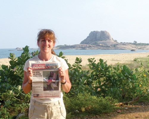 Donna Drynan at Yala National Park on a recent trip to Sri Lanka