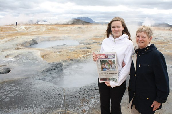 Natasha Clayton and her grandmother Jackie Bjornson visit hot mud springs while on a trip to Namaskard in Iceland.