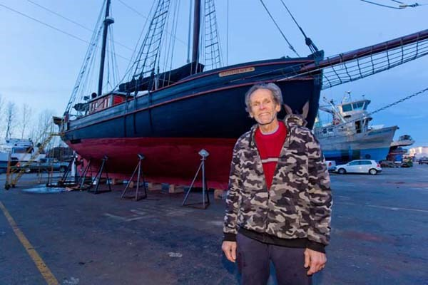 The Providence, with Commodore's Boats' Ryan Galovich, berthed in the dry dock at Shelter Island Marina in east Richmond.