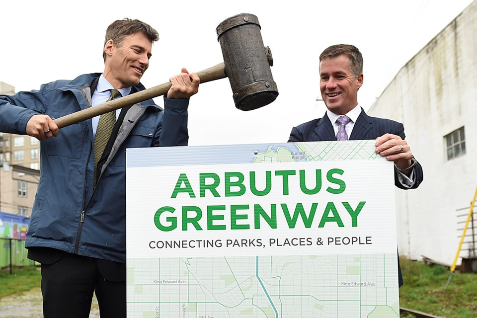 Mayor Gregor Robertson and CP's Keith Creel announced the deal for the Arbutus Corridor March 7. Photo Dan Toulgoet