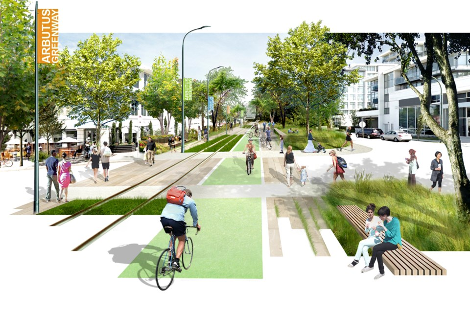 An artist rendering of the Arbutus Greenway.