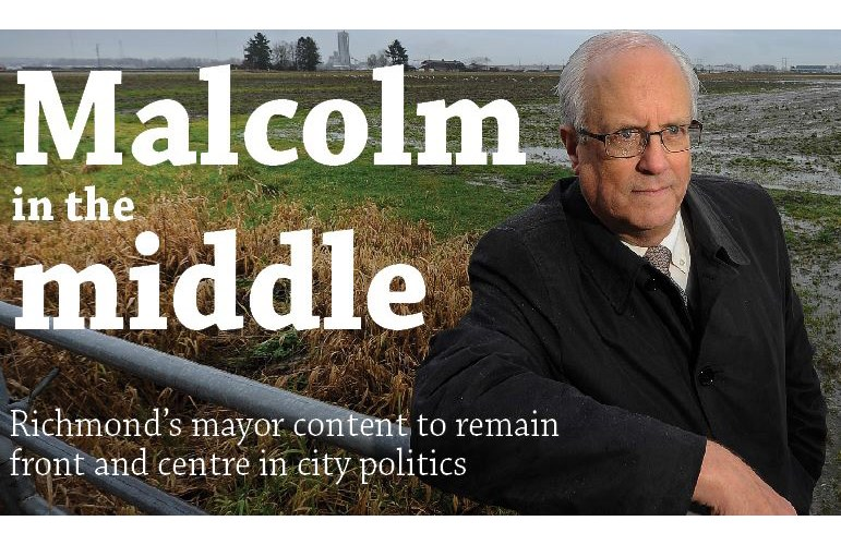 Richmond Mayor Malcolm Brodie stands in front of Gilmore farm, which Port Metro Vancouver has bought for potential development. Brodie is actively fighting any land use changes to Lulu Island farmland. The Province photo