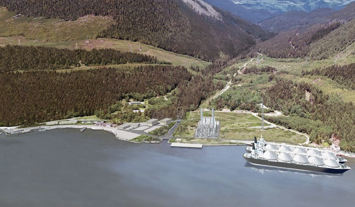 An artist's rendering of the proposed Woodfibre LNG facility. The project received federal environmental approval last week, clearing the last major hurdle after the B.C. government and Squamish First Nation approved it last fall.