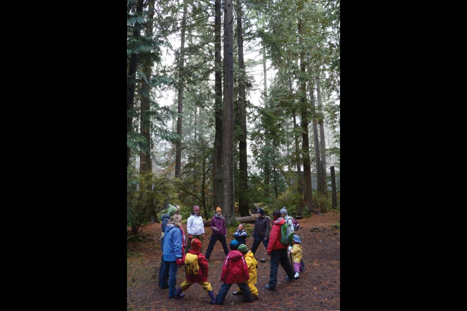 The Fresh Air Learning session starts with circle time in nature's playground.