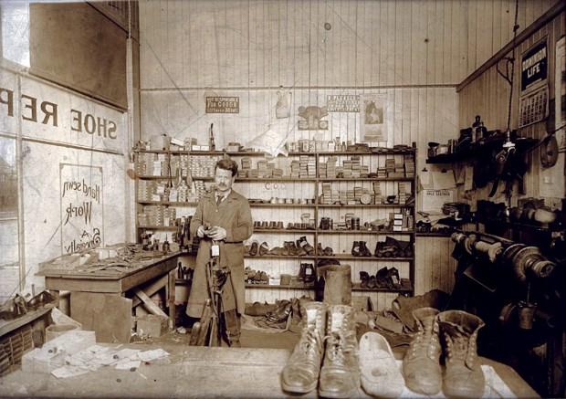 Percy M. Smith Shoe Repair, 1339 Lonsdale Avenue, North Vancouver, c. 1920, albumen print (1106).