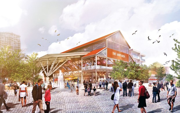 An artist's renderings show plans for a covered splash pool and open plaza area at The Shipyards development on North Vancouver's central waterfront. image supplied