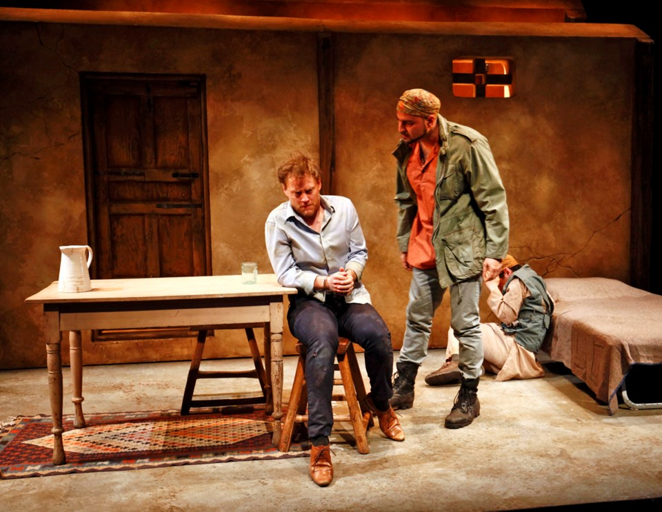 Craig Erickson, Munish Sharma and Conor Wylie star in Pi Theatre's production of The Invisible Hand.