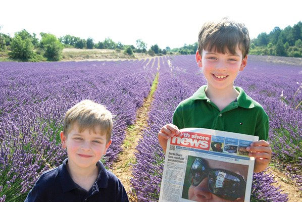 Oscar and Lucas Price showcase the paper against a beautiful background of lavender fields in Luberon, France.