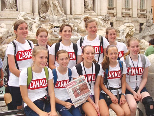 Lions Area Girls Guides visit Trevi Fountain in Rome during a trip to Europe.