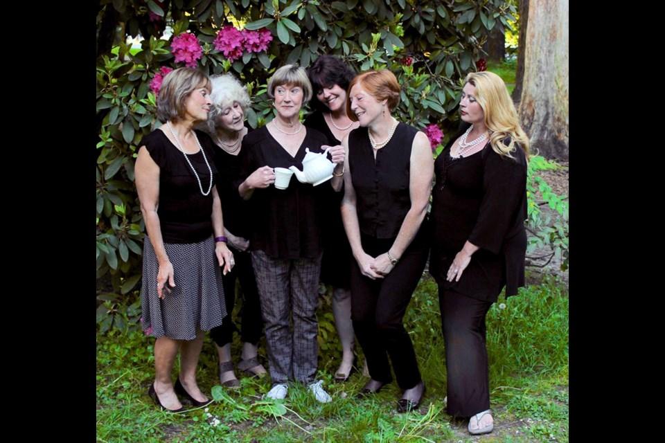 Elaine Francis, Joan Koebel, Nancy Ebert, Carol L. Mann, Beverley Field and Emma Greenhalgh appear in the Vagabond Players production of Calendar Girls.