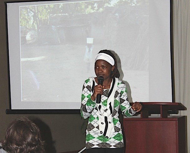 Esther Mwale delivers a presentation May 27 in Dawson Creek about what it's like to grow up in a country where girls do not have the same right to an education as boys. Mwale is a graduate of the Atsikana Pa Ulendo girls school, which is funded in part by a local Rotary group.