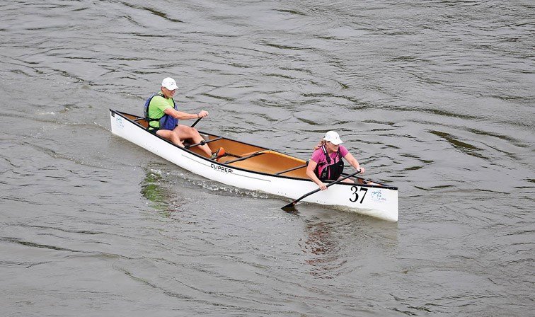 The husband and wife team of Tony and Wendy Fiala make their way down the Nechako River on Sunday while competing in the Simon Fraser Class of the Northern Hardware Prince George Canoe Race.