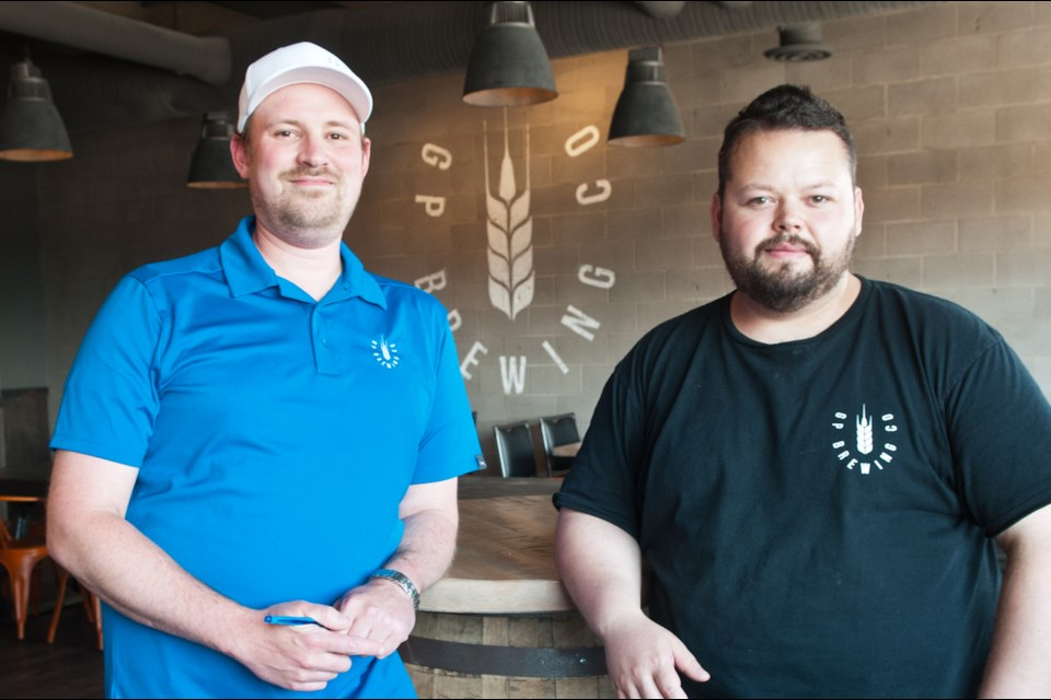 GP Brewing president Matt Toni and head brewer Jim Lague in their newly opened tasting room.