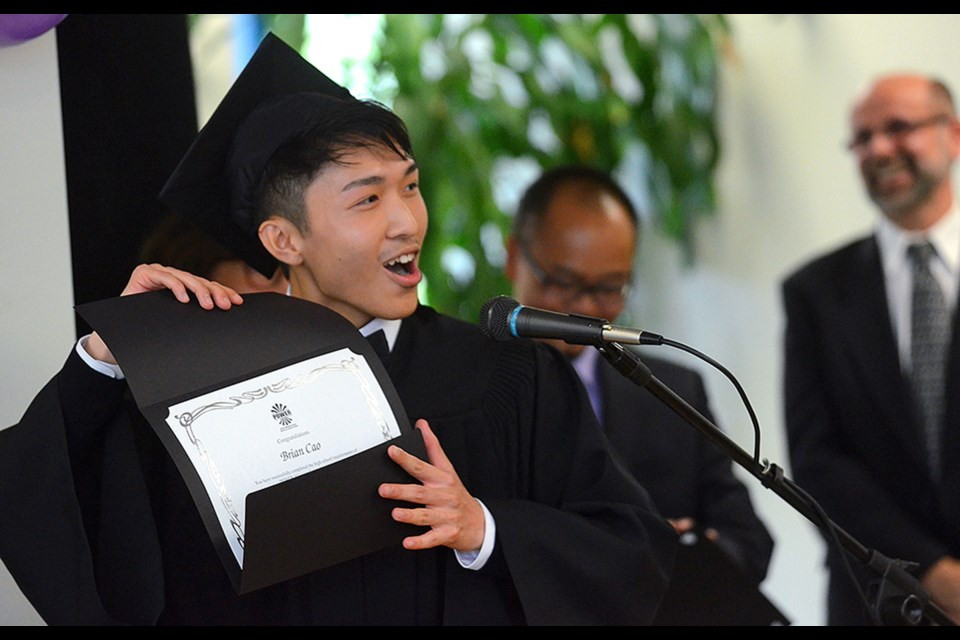 """POWER Alternate Secondary School grad Brian Cao gets the last laugh at all the doubters who thought he'd never graduate. """"It just feels great to have all the people trash talk you and then see it backfire,"""" said Cao during a graduation speech at a convocation ceremony for the alternate education school at Columbia Square shopping centre last Friday."""