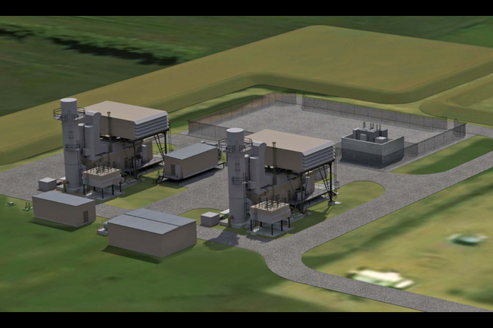 A rendering of Kineticor's proposed Peace River Power Project, which would convert energy expended during oil and gas flaring into electricity.