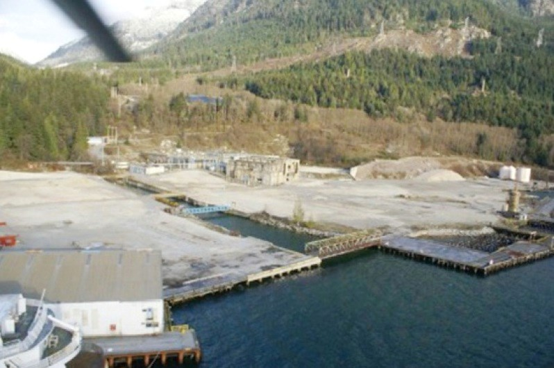 An aerial view of the site of Woodfibre LNG, a former pulp mill on the Howe Sound.