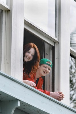 Students Grace Thompson and Kylle Kelly check out the view from the current location of Keith Lynn school on Shavington Street.