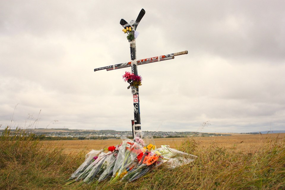 By Sunday, a memorial has been set up along the Dangerous Goods Route in Dawson Creek to honour the memory of Logan Power.
