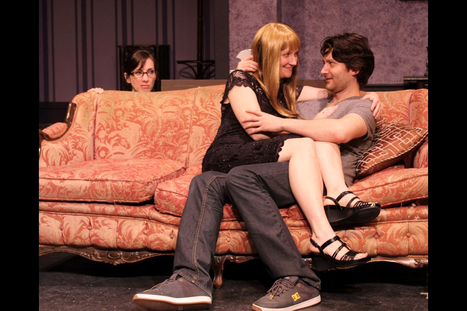 Tracy Labrosse, Heather Evens and Alex Ross in the Vagabond Players' production of Body and Soul, opening Oct. 6 at Bernie Legge Theatre.