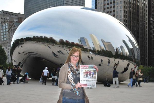 """While visiting Chicago, Diane Karn stops in front of Cloud Gate, a sculpture in Millenium Park that locals call """"the bean."""""""