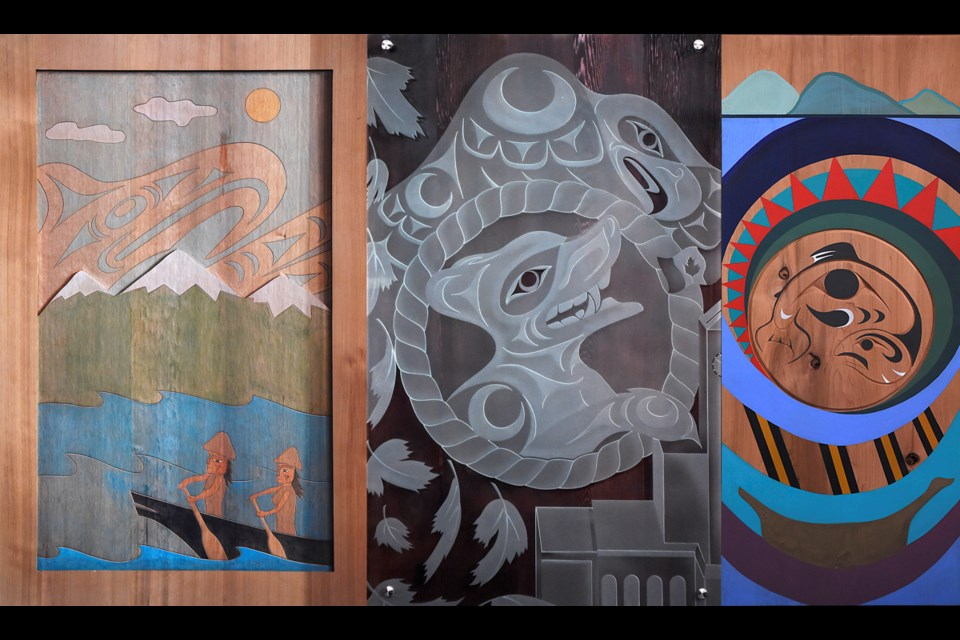 From left to right is the work of Jody Broomfield of Squamish Nation, Jordan Gallie of Tsleil-Waututh and Chrystal Sparrow of Musqueam, which now hangs at city hall. Photos Dan Toulgoet