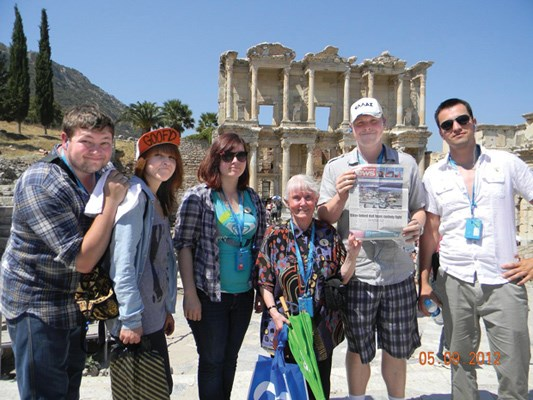 Ryan and Kaitlyn Taylor, Louisa Grant, Christa Sandvoss, and Allan and Chris Grant visit the ruins of Ephesus in Turkey while on a trip through Europe.