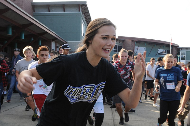 Cassandra Gill is the first female student to finish the Terry Fox School Run.