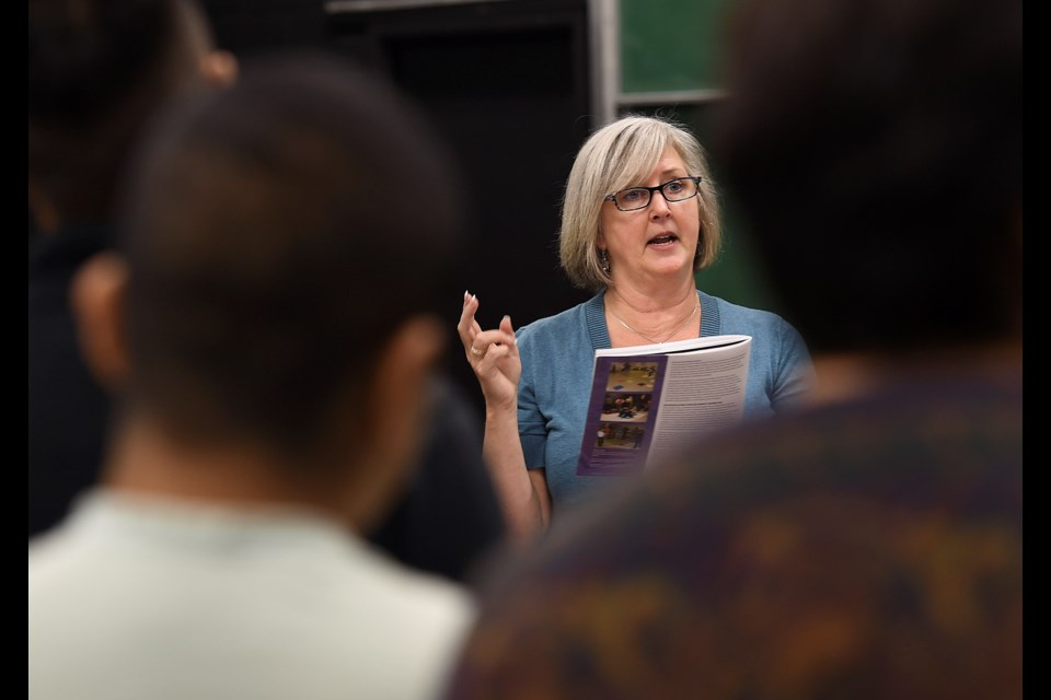 Shirley Burdon teaches English 12 First Peoples at Gladstone secondary. Photo Dan Toulgoet
