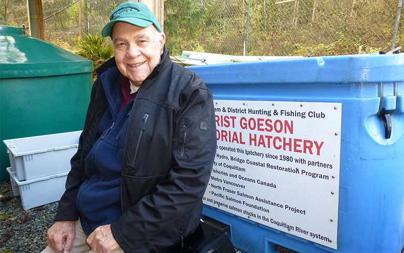 Norm Fletcher, hatchery co-ordinator for the Grist Goeson Memorial Hatchery, which is the largest salmon hatchery in the Tri-Cities, raising chinook and coho salmon to supplement wild stocks in the Coquitlam River.