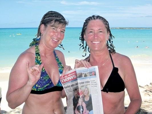 Sharon Killick and Lynne Kellerman hang out in Waikiki, Honolulu.