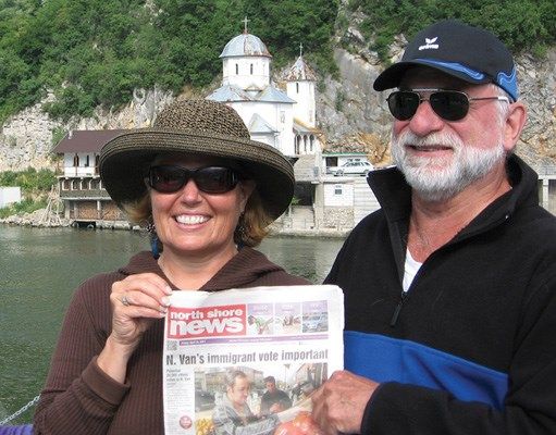 Debbie Kennedy and Dave Wellman head to a church on the shores of Europe's Danube River.
