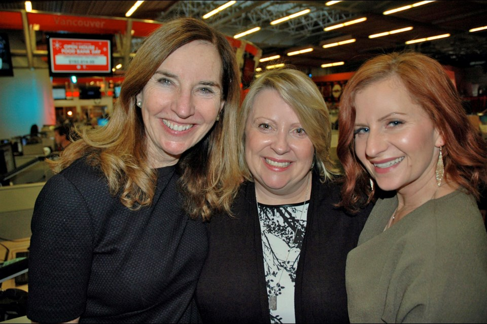 Anne Penman, Shiral Tobin and Amy Bell were all smiles after a record $780,000 was raised during the 30th annual CBC Open House and Food Bank Day. Penman initiated the food drive in 1986. The original campaign in 1986 raised $462.