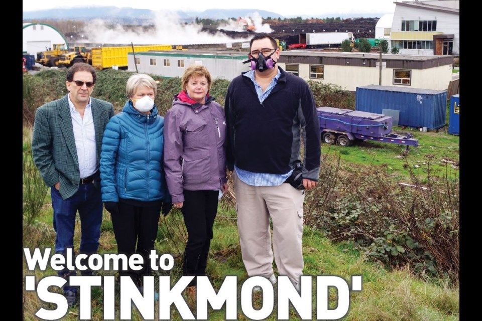 Stop the Stink (Facebook page) members and concerned residents, from left to right, Arnold Shuchat, Helina Clement, Joanne Charity and Rob Fillo stand in front of the Harvest Power compost facility. November, 2016.