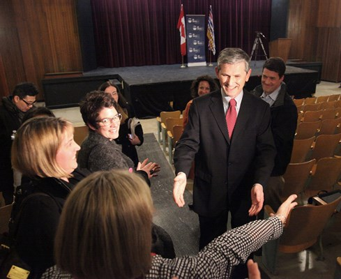 Andrew Wilkinson greets supporters after defeating Suzanne Anton to win the B.C. Liberal nod for Vancouver-Quilchena at Prince of Wales secondary school.